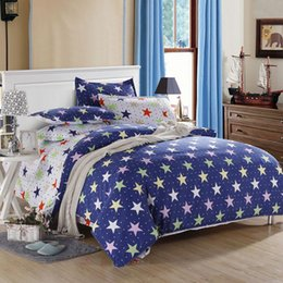 Wholesale Cheap Bedclothes - Wholesale-2015 New Navy Starry Printed Bedclothes Cute Cotton Duvet Cover Cheap Home Bedding Set 3pcs Or 4pcs Wholesale