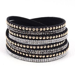 Wholesale Holiday Tennis - Newest multilayer Double Velvet Leather Wrap Bracelet with rhinestone crystal wrapped Bracelets charm bracelets