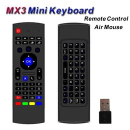 Wholesale Tablet Fly - Wireless Mini Keyboard 2.4GHz Remote Control MX3 Somatosensory IR Learning 6 Axis with Mic 3D Fly Air Mouse for Android TV Box PC Tablet