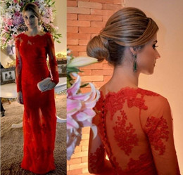 Wholesale Kardashian Cheap Prom Dresses - Kim Kardashian 2015 Sexy Red Boat Neck Long Sleeves A Line Evening Formal Dresses Lace Appliques Floor Length Cheap Celebrity Prom Gowns
