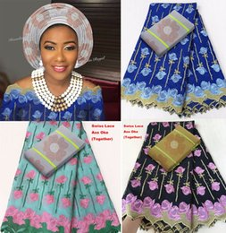 Wholesale Swiss Voile Lace Sale - Lovely 5 yards original African Swiss lace cotton voile lace fabric matching Floral Aso Oke headtie high quality Hot sale