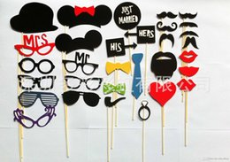 Wholesale Designs Funny Photo Booth Props - New Arrival 31 Designs Funny Photo booth props with lips moustaches glasses and sticks fashion for wedding Decorations tools