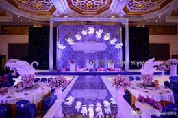 Wholesale Center Pieces - Hot Sale wedding carpet Center pieces Mirror Aisle Runner Gold Silver Double Side Design T Station Decoration Wedding