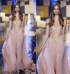 myriam fares viste un hombro Rebajas Blush Elie Saab Vestidos de noche formales Vestidos largos de fiesta largos con apliques de encaje dorado Gasa con cuello redondo Vestidos de dama de honor