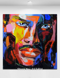 Wholesale Sexy Bar Paintings - Sexy mustache Handmade Oil Painting on Canvas Palette Knife Figure Cool Man Picture Home Bar Cafe Wall Decor
