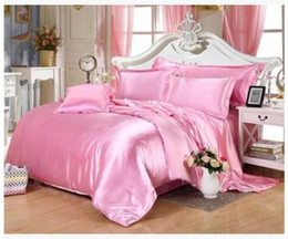 Wholesale Pink Doona Covers - Silk bedding set california king size queen full twin Pink satin duvet cover bedspread double fitted bed sheet quilt doona 6pcs