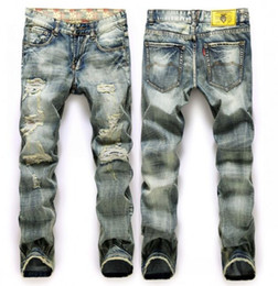 Wholesale Size 38 Ripped Jeans - Stonewashed Straight Distressed Vintage Ripped Men Jeans , Gray Denim Jeans With Hole Size 38