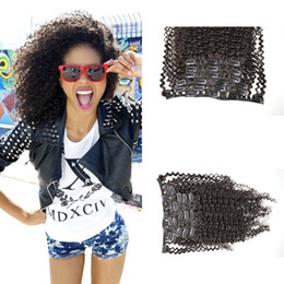 Wholesale 22 real human hair extensions - 7pcs set 100% Human Remy Clip-in Hair Extensions afro Kinky curly Real Clip on Hair extension 4a,4b,4c G-EASY free shipping