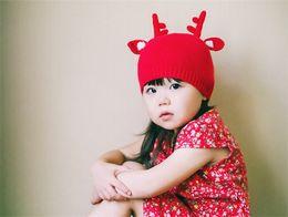Sevimli bebek şapka elk boynuzları çocuklar Güz ve Kış şapka Noel Baba bebek şapka el yapımı örme Noel bebek kap IC889 nereden