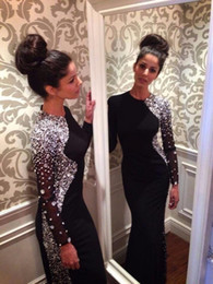 Wholesale Evening Gown Black Jersey - New Sexy Long Sleeves Black Jersey Mermaid Evening Dresses 2016 Beaded Crystals Floor Length Prom Gowns