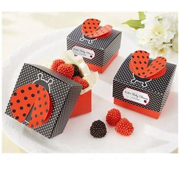 "Wholesale Ladybug Favor - Wholesale- 10pcs Wedding Candy Box Baby Shower Favor Box Party Decorations ""Cute as a Bug"" 3-D Wing Ladybug Favor Box Decoration Mariage"