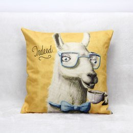 Wholesale Tea Pillow - Linen Decor Square Throw Pillow Case Cushion Cover Mr Alpaca Drink Tea Decor Pillow Case Waist Pillow Back Cushion Cover Kaola Giraffe