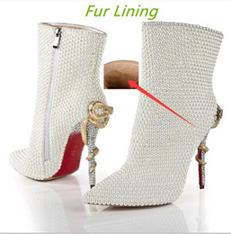 Wholesale Cheap Low Heeled Boots - Cheap White Dress Shoes Rhinestone Pearls Wedding Bridal Boots For Winter women fashion Red Bottom Snake Heels Pumps with Warm Fur Lining