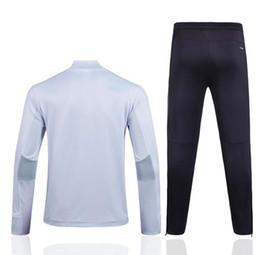Wholesale Tight White Pants Set - 2017 Real Madrid Kit Soccer sportswear Football Men Fashion Set Winter Streetwear tight pants Tracksuits 17 18 Feyenoord thai quality S-XXXL