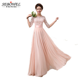 Wholesale bridesmaid maxi dress lace sleeves - Plus Size 2017 Autumn Winter Women Long Chiffon Dress Half Sleeve Maxi Dresses Formal Wedding Party Lace Dress Bridesmaid wear q1113