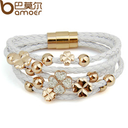 Wholesale Rose Gold Leather Wrap - Leather Wrap 18k Rose Gold Plated Bracelet for Women Four Leaf Clover Crystal Charm Jewelry GI0697
