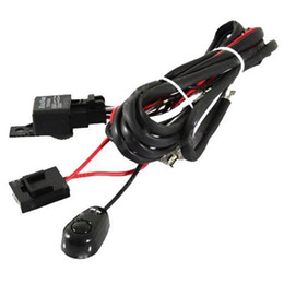 Wholesale Hid Work Light Kit - Universal Relay Harness Wire Kit + LED ON OFF Switch For Fog Lights HID Work lamp free shipping