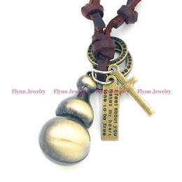 Wholesale Gourd Necklace Pendant - 2015 Gourd Accessories Metal Pendant Amulet Adjustable Leather Necklace Punk Cowboy Decorations Gift 10pcs lot