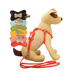 Wholesale Dog Collars Leashes Rhinestones - 20pcs lot Fashion Rhinestone Bone Charm Leather Dog Harness and Leash Set 2 size for Small Medium Dogs