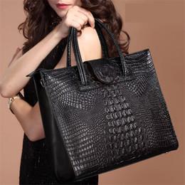 Wholesale Briefcase Portfolio Woman - New Crocodile Women Leather Handbags Fashion Women Bag Ladies Shoulder Bags Purse Handbag Brand Portfolio Briefcase