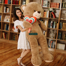 Wholesale big lollipops - Dorimytrader Lifesize Cartoon Bear with Lollipops Plush Doll Big Stuffed Bears Toys Hug Bear Present for Children Lover DY61876