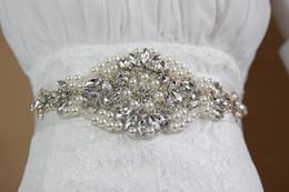 Wholesale Casual Organza - Handmade Pearl Rhinestone Crystal Dress Belt for Wedding Luxury Satin Bridal Waist Sash Wedding Dress Belt Wedding Accessories