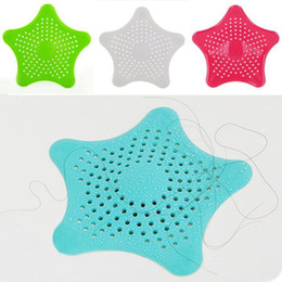 Wholesale Kitchen Sink Drain Filter - Silicone Sucker Floor Drains Durable Soft Five Pointed Star Sink Filter Shower Hair Sewer Colanders Strainer For Kitchen 1 35fn B R