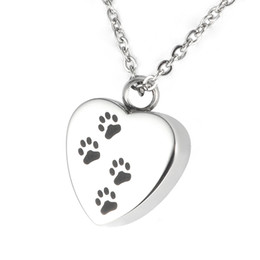 Wholesale Dog Puppy Jewelry - Lily Cremation Jewelry Puppy Pet Dog Paw Print Heart Necklace Memorial Urn Pendant Ashes with gift bag and chain
