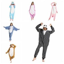 Wholesale Pajamas Skeleton - 37 Styles Cartoon Flannel Unicorn Warm Pajamas Kids Skeleton Unicorn One-piece Home Cosplay Nightwear Sloth Pajamas CCA8297 100pcs