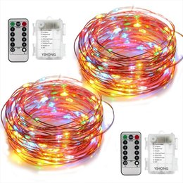 Wholesale Changing Color Battery Lights - DIY Christmas 33ft LED String Lights Battery Operated Lights Multi Color Changing String Lights Remote Control Waterproof 16.4ft Decorative