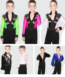 Wholesale Latin Outfits - Children Boys Professional Stage Performance Dance Suits Costumes Black White Dance Outfit Ballroom Latin Waltz Tango Skirt Pants