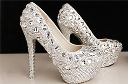 Wholesale High Heeled Prom Shoes - Fashion Luxury Crystals Rhinestone Wedding Shoes Size 12 cm High Heels Bridal Shoes Party Prom Women Shoes Free Shipping