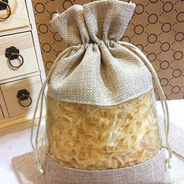 """Wholesale Clear Candy Bags - Jute Organza Clear Bags 15cmx22cm(6""""x8.5"""") Makeup liquid shampoo Bottle sales promotion Drawstring Gift Pouches"""