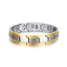 Wholesale Br Bracelet - 2015 New fashion health bracelets for men jewelry stainless steel men bracelets jewelry with Magnetic and Germanium BR-076