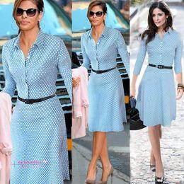 Wholesale Ladies Bohemian Long Dress - 2016 NEW Spring Summer Women Casual Winter Dot Long Dresses Fashion Work Wear Blue Denim Dresses Women Office Dress for Ladies Wear OXL0045