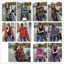 Wholesale Capes Ponchos For Women - ladies bohemian scarves oversized scarf Lady thick Hooded Cape Bohemian shawls wholesale scarves for women wraps cotton hooded scarf D1891