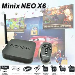 Wholesale Android Tv Box Rj45 Bluetooth - Amlogic S805 Quad Core TV Box MINIX NEO X6 Android 4.4 Smart TV 1G 8G HDMI Media Player RJ45 USB Bluetooth 4.0 1080P WiFi IPTV 4PCS
