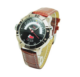 Wholesale Hidden Cameras Screen - H.264 1280*720 H.264 8gb 16gb 32gb Spy Hidden Cam Brown Leather Strap Wrist Watch Camera LED 180 Degree Screen Auto Rotate Cycle Recording