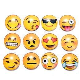 Neveras modernas online-Imanes redondos del refrigerador de Emoji de la historieta Pegatinas magnéticas del refrigerador del vidrio cristal Pegatinas amarillas lindas Nueva llegada moderna 0 65sx B