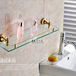 Wholesale Bathroom Glass Shelves - Wholesale And Retail Wall Mounted Golden Brass Storage Holders & Racks Glass Tier Crystal Style Bathroom Shelf