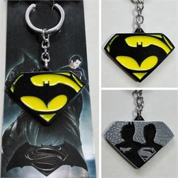 Wholesale Dawn Women - Movie Batman v Superman Dawn of Justice Logo 02 Black 5cm Metal Keychain Keyring 12 Pcs lot
