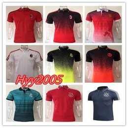 Wholesale Fly Top - Top best quality 17 18 Ajax AC Milan Jerseys POLO Football Shirts 2017 2018 Real Madrid soccer jersey Shirts Adults Sport Polo shirt