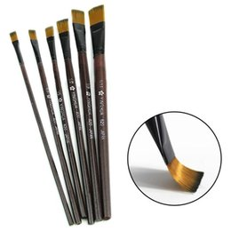 Wholesale Nylon Artist - 2016 New 6pcs set Brown Tip Nylon Paint Brushes For Art Artist Supplies Free Shipping