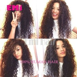 Wholesale Pure Virgin Lace Wigs - Full Lace Human Hair Wigs Afro Curly Wig with Baby Hair Brazilian Virgin Best Human lace Wigs Glueless Pure Color wigs for black women