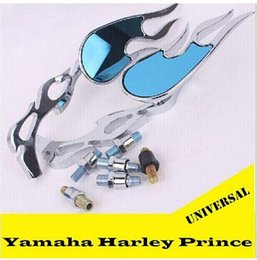 Wholesale Chrome Handlebars - Harley Motorcycle Mirrors Universal Chrome Motorcycle mirrors ATV Rearview mirrors Side mirrors Modified Parts New Flame handlebar Parts top