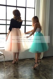 Wholesale Tea Length Tulle Bridesmaid Dress - 2016 Summer Beach Tutu Skirt Bridesmaid Country Wedding Short Length Blue Coral 5 Layers Cheap Wedding Bridal Adult Tutus Skirt For Women