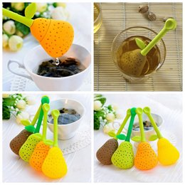 Wholesale Teacup Strainer - Pear Tea Bags Tea Strainer Silicone Teaspoon Filter Tea Leaf Strainer Herbal Spice Infuser Teacup Teapot Filter OOA3614