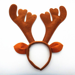 Wholesale Reindeer Antlers Headband - 10pcs lot X'mas Decoration Santa Reindeer Antler Headband Christmas Cosplay Party Hair Wear Supplies HX414