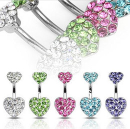 Wholesale Surgical Steel Navel Piercings - Low discount boby jewelry Shamballa Crystal heart Disco Ball&316L Surgical Stainless Steel Belly Button Navel Ring Body Piercing P016