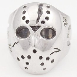 Argentina Black Friday Hockey Jason Mask SKULL Rings Novela Mens 316L Joyería de acero inoxidable, ROCK, Motorista, Venta al por mayor, envío gratis VR063 cheap novel rings Suministro